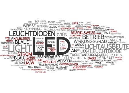 Word cloud of LED in German language photo