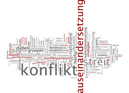 Word cloud of conflict in German language photo