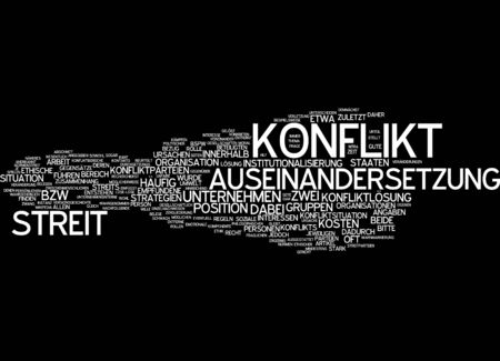 perceived: Word cloud of conflict in German language Stock Photo