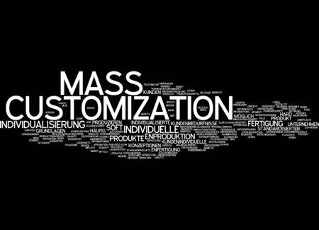 Word cloud of mass customization in German language