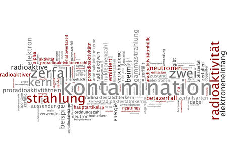 gamma radiation: Word cloud of contamination in German language Stock Photo