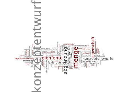 demarcation: Word cloud of concept design in German language Stock Photo
