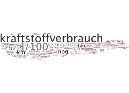 ドイツ語での燃料消費量の単語の雲