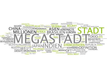 megacity: Word cloud of megacity in German language