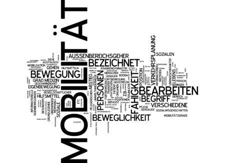 Word cloud van mobiliteit slachtoffer in de Duitse taal