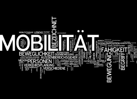 Word cloud of mobility victim in German language photo