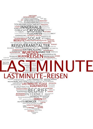 booked: Word cloud of last minute in German language