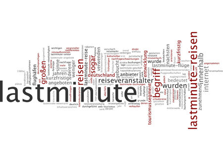 booked: Word cloud of last minute in German language