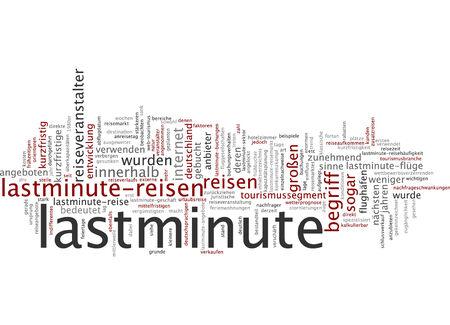 Word cloud of last minute in German language photo
