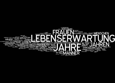 expectancy: Word cloud of life expectancy in German language