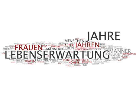certain: Word cloud of life expectancy in German language
