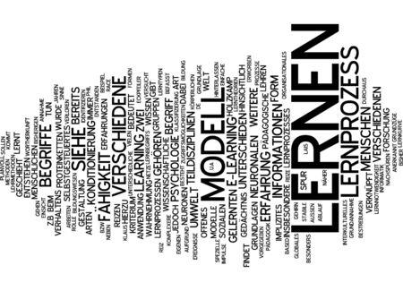 criterio: Parola nube di apprendimento in lingua tedesca Archivio Fotografico