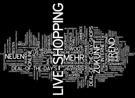 converts: Word cloud of live shopping in German language Stock Photo