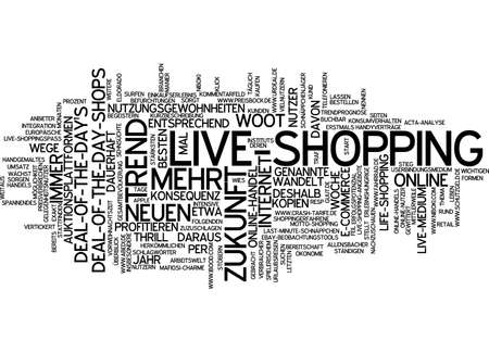 e auction: Word cloud of live shopping in German language Stock Photo