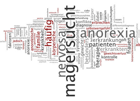 anorexia: Word cloud of anorexia in German language Stock Photo