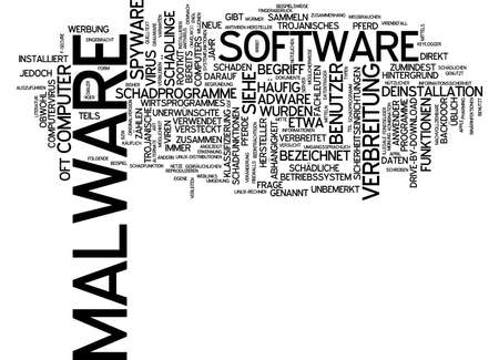 dissemination: Word cloud of malware in German language Stock Photo
