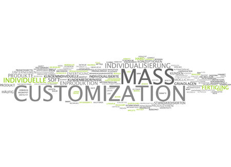 Word cloud of mass customization in German language