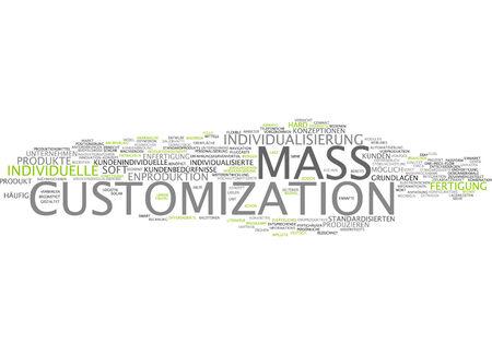 Word cloud van mass customization in de Duitse taal Stockfoto