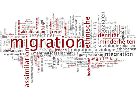Word cloud of migration in German language Stock Photo