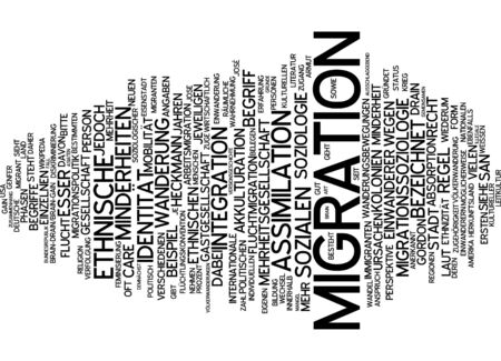 migration: Word cloud of migration in German language Stock Photo