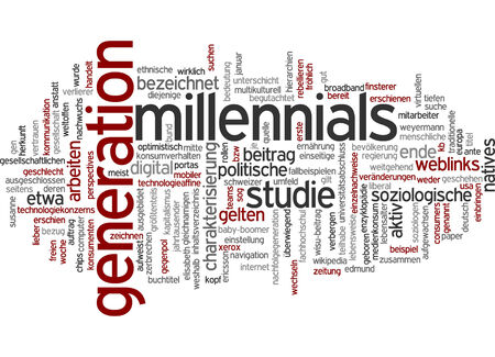 characterization: Word cloud of milleniel generation in German language Stock Photo