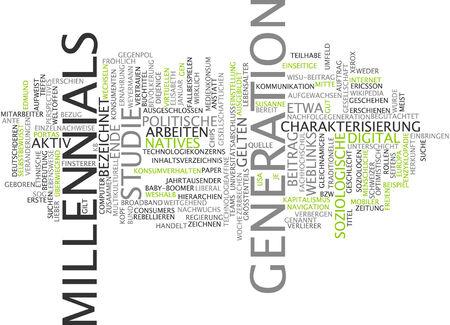 characterization: Word cloud of milleniel generation in German language Stock Photo