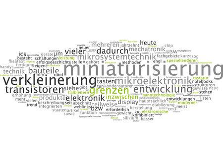 miniaturization: Word cloud of miniaturization in German language