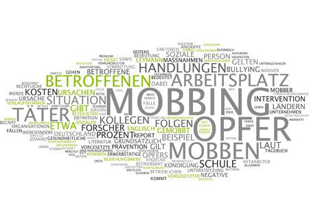 stock photo word cloud of mobbing victim in german language - Mobbing Am Arbeitsplatz Beispiele