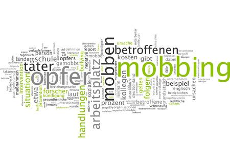 mobbing: Word cloud of mobbing victim in German language Stock Photo