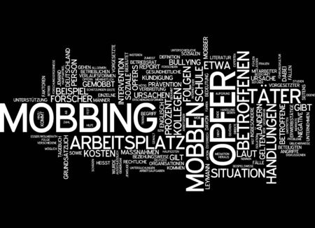 affected: Word cloud of mobbing victim in German language Stock Photo