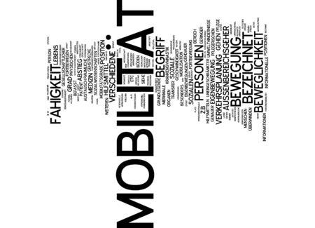 Word cloud van de mobiliteit van het slachtoffer in de Duitse taal