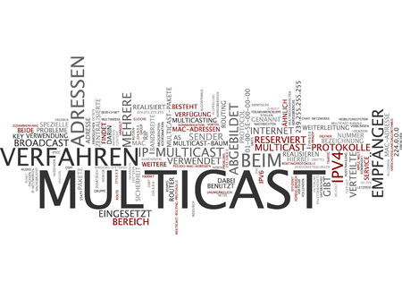 Word cloud of multicast in German language photo