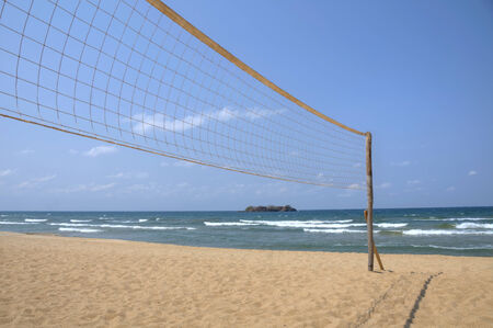 beach volleyball: Volleyball net on empty beach
