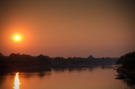 africa sunset: View of the river in dusk Stock Photo