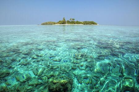 Clear ocean water in Maldive Islands photo