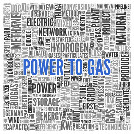 tagcloud: Close up Blue POWER TO GAS Text at the Center of Word Tag Cloud on White Background.