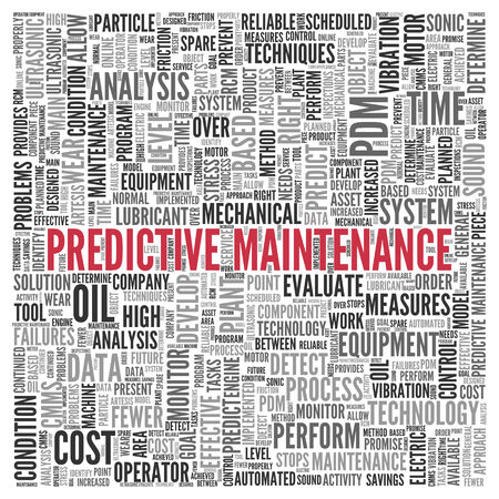 predict: Close up Red PREDICTIVE MAINTENANCE Text at the Center of Word Tag Cloud on White Background.