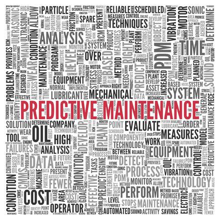 predictive: Primo piano Red PREDITTIVA MANUTENZIONE Testo al Centro di tag cloud parola su sfondo bianco. Archivio Fotografico