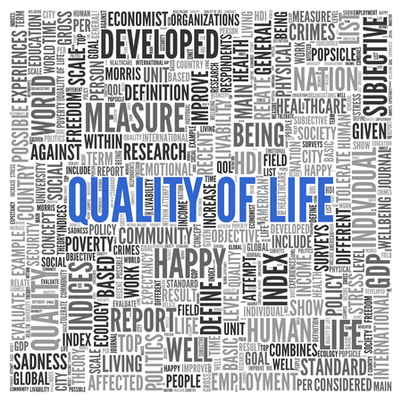 developed: Close up Blue QUALITY OF LIFE Text at the Center of Word Tag Cloud on White Background.