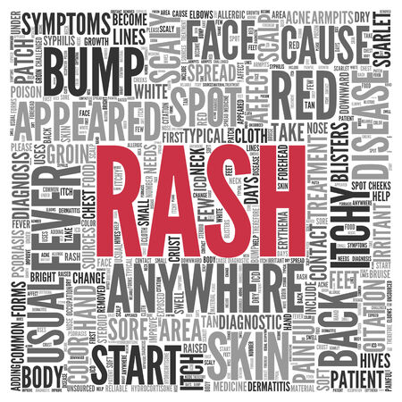 itchy: Close up Red RASH Text at the Center of Word Tag Cloud on White Background. Stock Photo