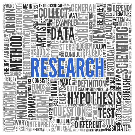 metodo cientifico: Cierre de azul INVESTIGACIÓN Texto en el Tag Centro de nube de la palabra en el fondo blanco.
