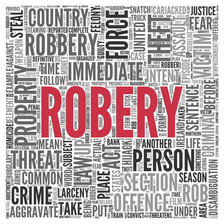 hijack: Close up Red ROBERY Text at the Center of Word Tag Cloud on White Background.