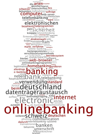 online banking: Word cloud of online banking in German language Stock Photo