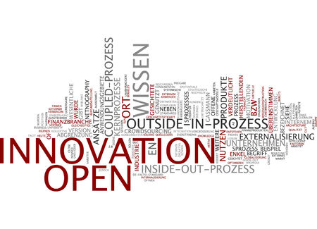 demarcation: Word cloud of open innovation connectivity in German language Stock Photo