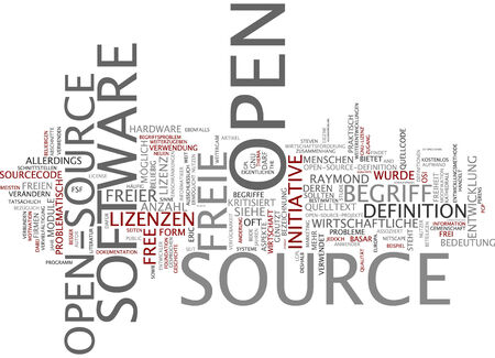 criticized: Word cloud of open source in German language