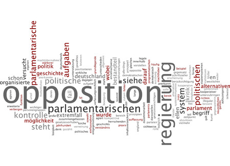 political system: Word cloud of opposition in German language