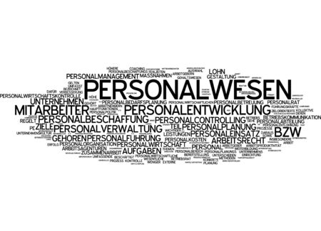 human resource management: Word cloud of human resource management in German language Stock Photo
