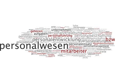 Word cloud of human resource management in German language Stock Photo