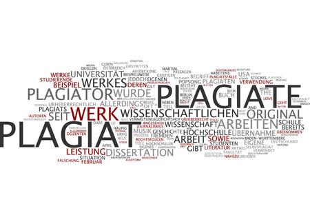 plagiarism: Word cloud of plagiarism in German language
