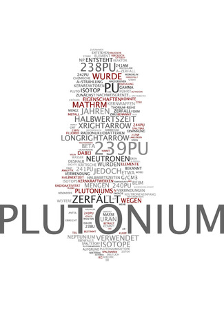 Word cloud of plutonium in German language Stock Photo
